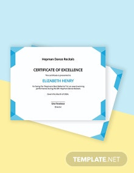 Best Performance Certificate Template