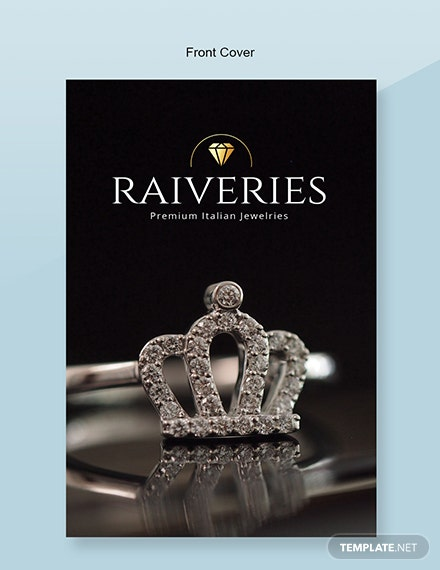 Free Jewelry Catalog Template Front