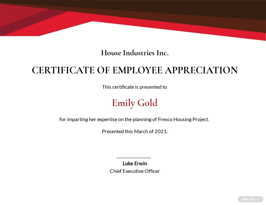 Employee Performance Certificate Template