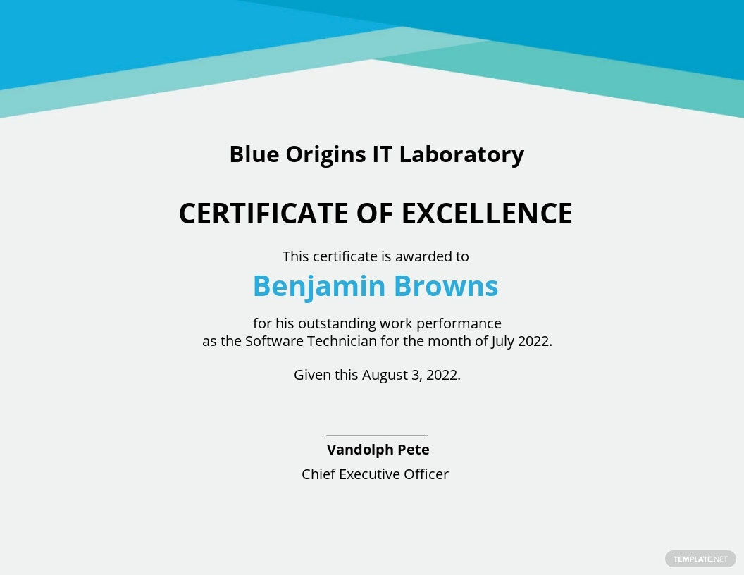 Work Certificate of Performance Template