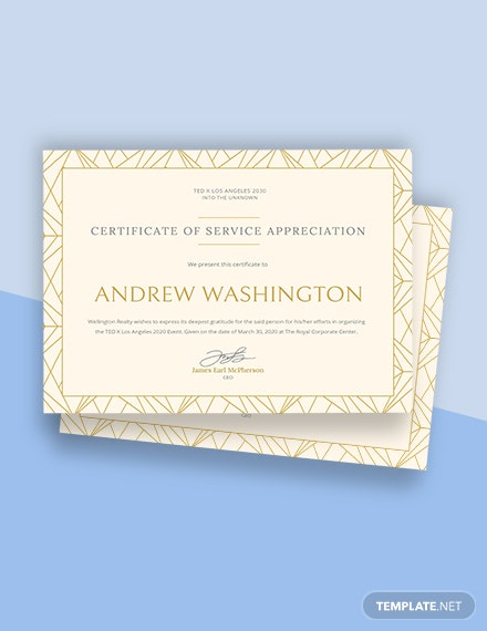 Employee Certificate of Service Template