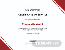 Employment Certificate of Service Template