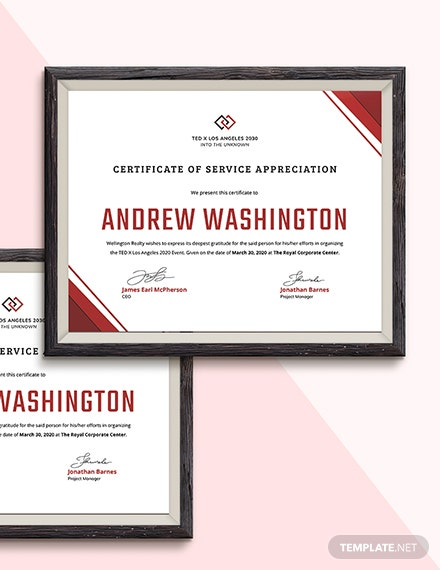 Sample Employment Certificate of Service