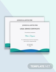 Legal Certificate of Service Template