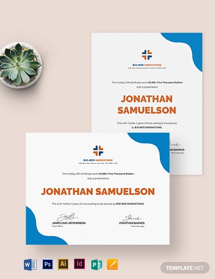 Company Gift Certificate Template