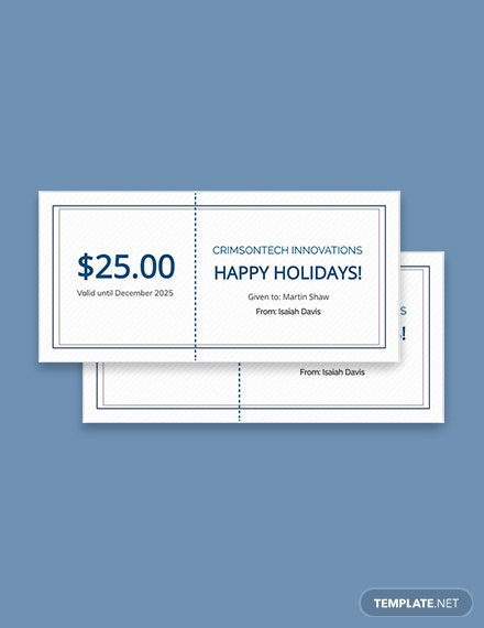 Company Holiday Gift Certificate Template