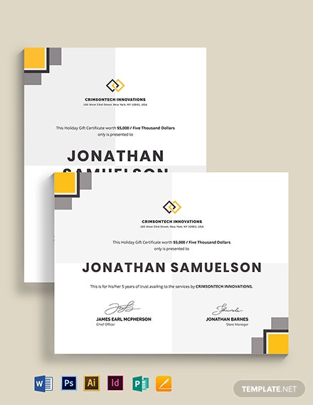 modern company gift certificate template 1