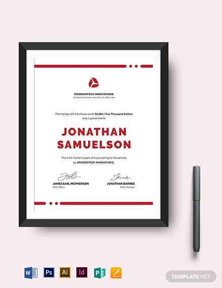 Simple Company Gift Certificate Template