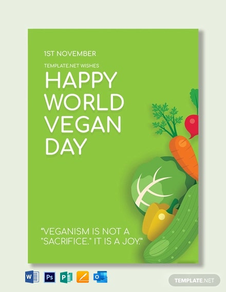 World Vegan Day Greeting Card Template