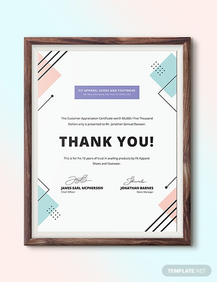 Customer Appreciation Certificate Download