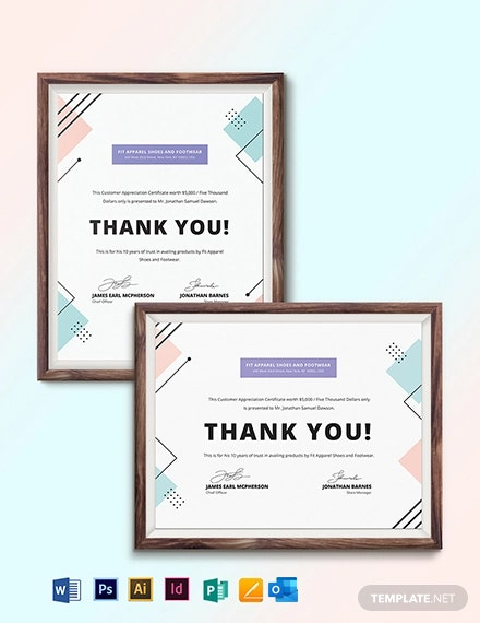 Customer Appreciation Certificate Template