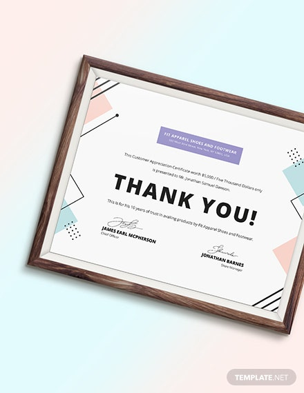 Sample Customer Appreciation Certificate