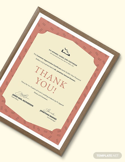 Formal Customer Appreciation Certificate Download
