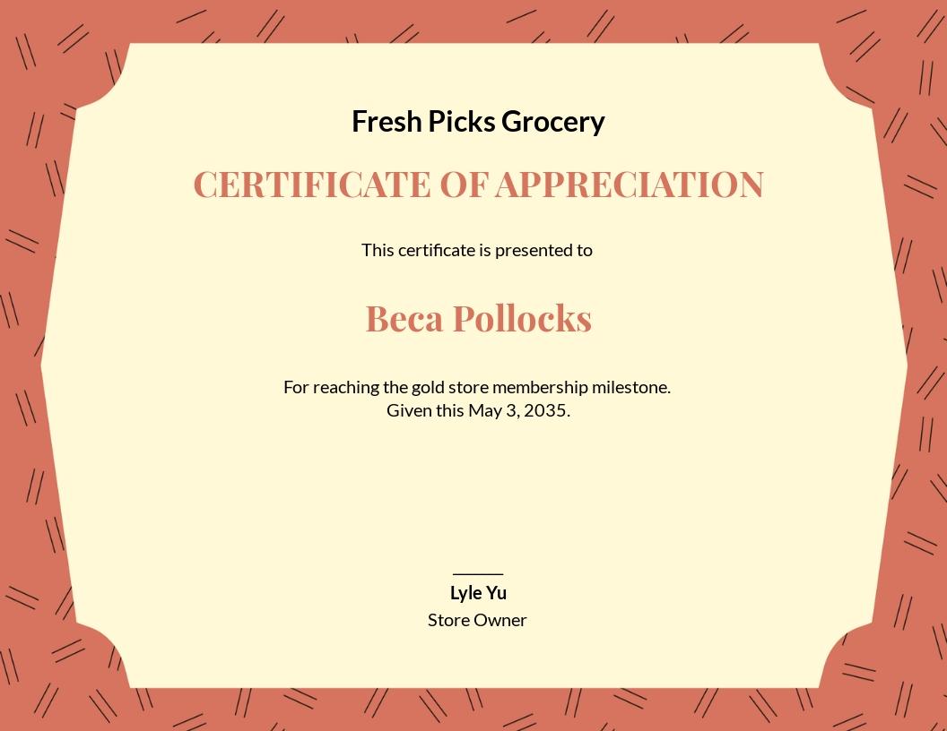 Formal Customer Appreciation Certificate Template