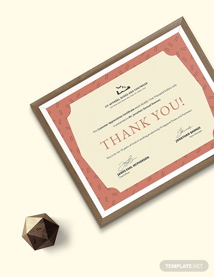 Sample Formal Customer Appreciation Certificate