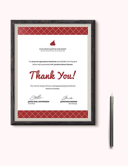 Modern Customer Appreciation Certificate Download