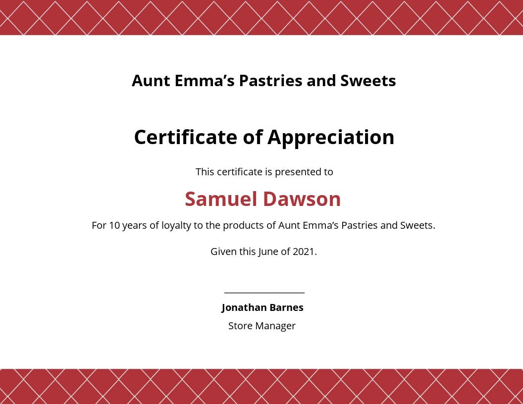 Modern Customer Appreciation Certificate Template