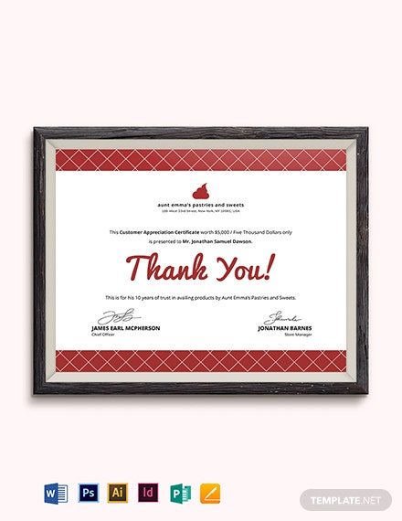 Modern Customer Appreciation Certificate Template