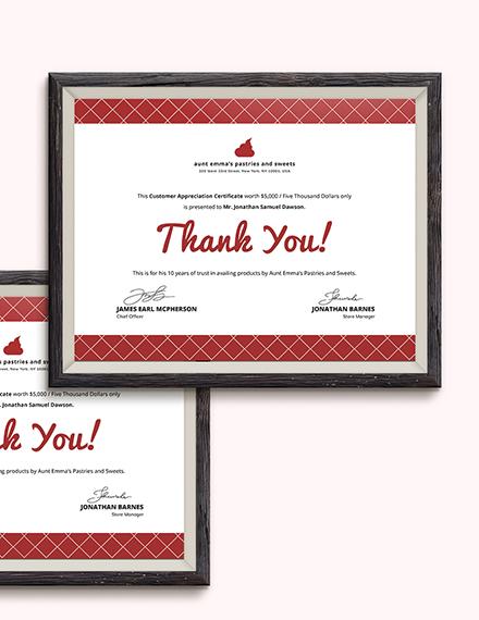 Sample Modern Customer Appreciation Certificate