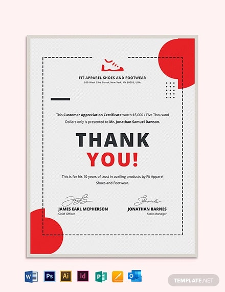 Simple Customer Appreciation Certificate Template