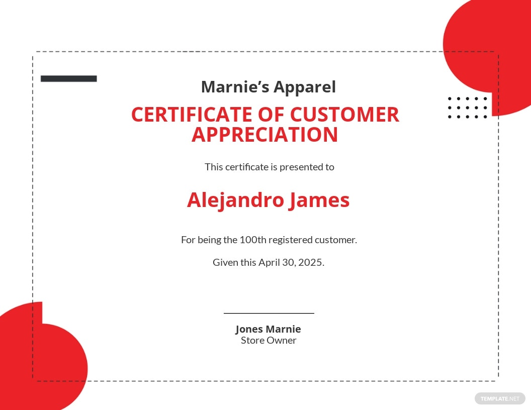 Simple Customer Appreciation Certificate Template