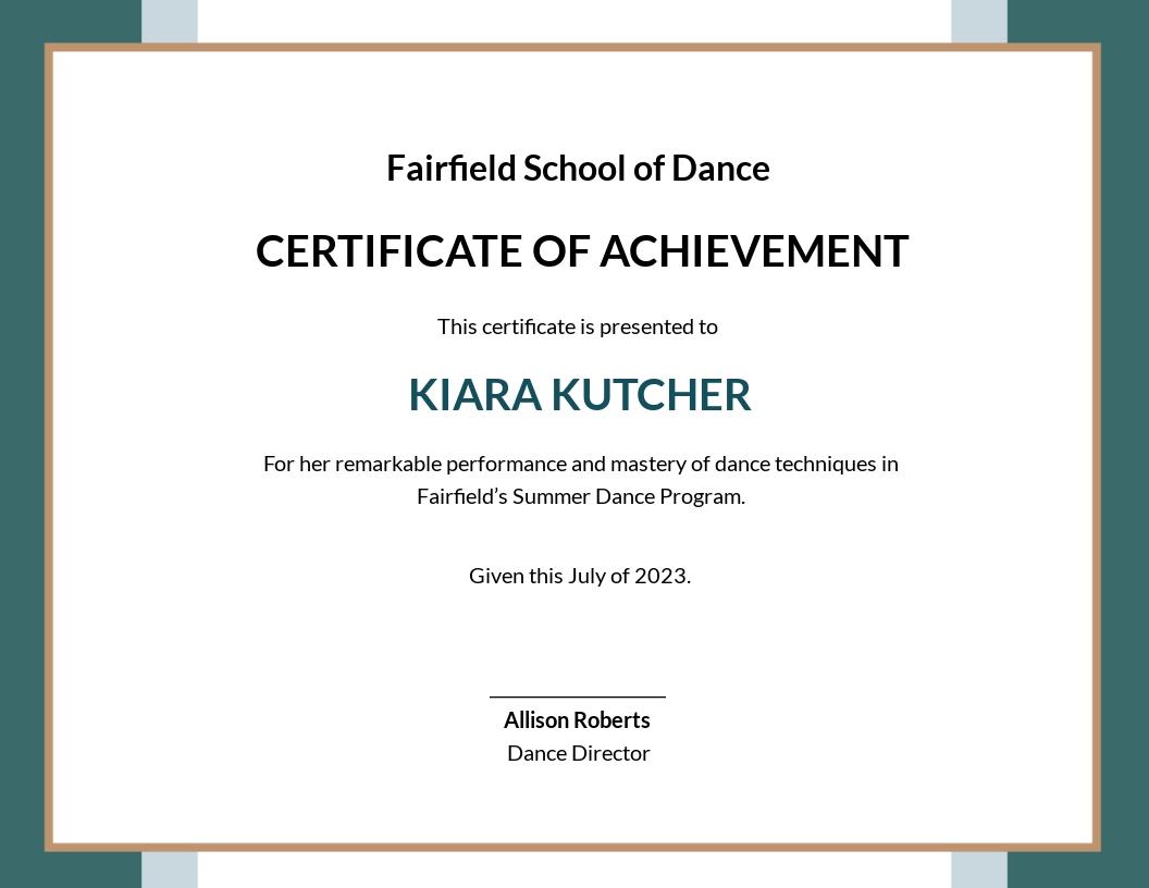 Dance Achievement Certificate Template.jpe