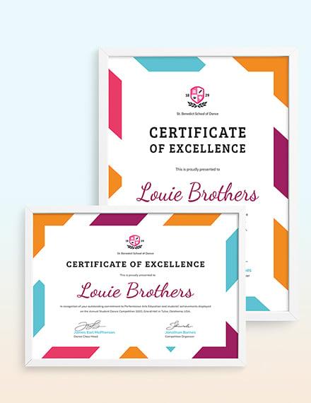 Dance Achievement Certificate Template