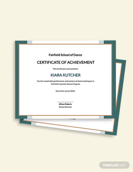 Dance Achievement Certificate Template