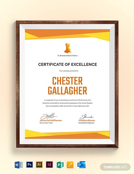 Dance Award Certificate Template