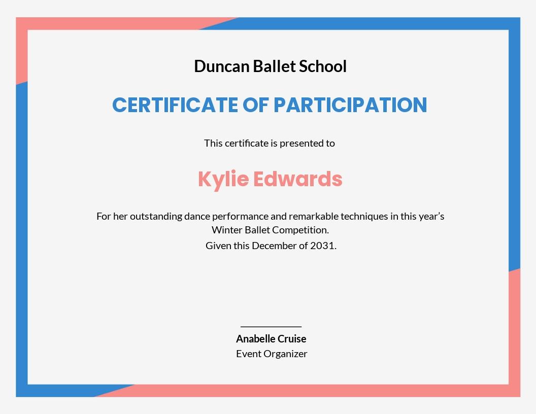Dance Certificate Template