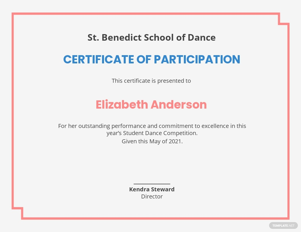 Modern Dance Certificate Template