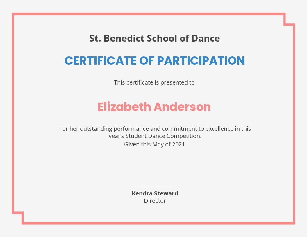 Modern Dance Certificate Template.jpe