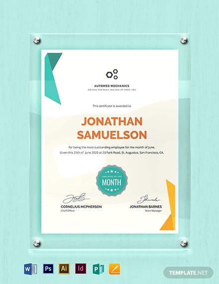 graphic regarding Employee of the Month Printable Certificate named Personnel of the Thirty day period Certification Template - Phrase PSD