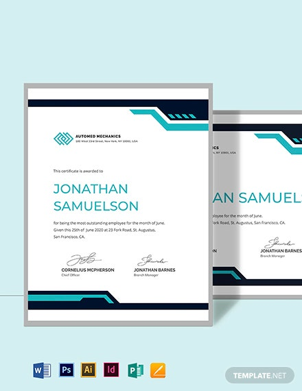 Simple Employee of the Month Certificate Template