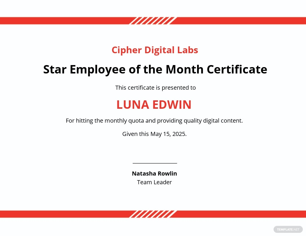 Star Employee of the Month Certificate Template