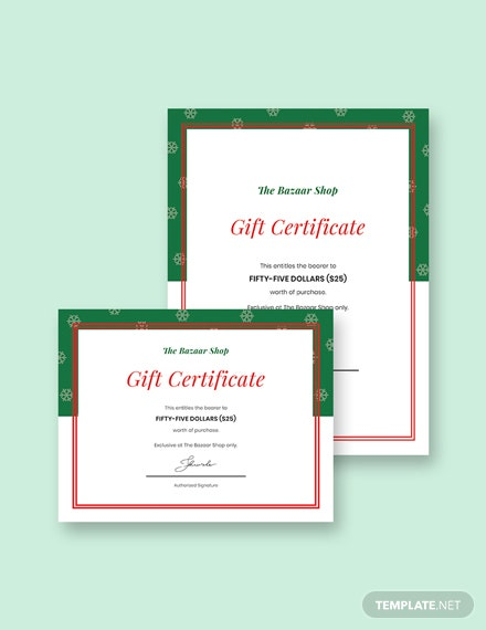 holiday gift certificate 2