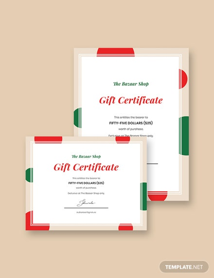 Simple Holiday Gift Certificate Template