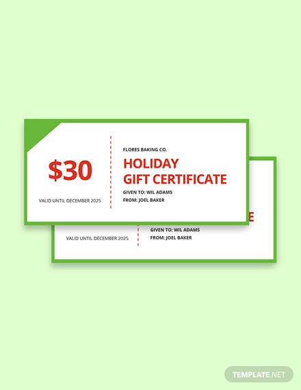 Free Simple Holiday Gift Certificate Template