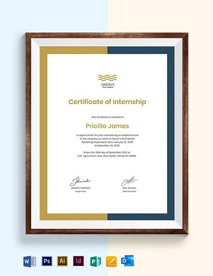 Creative Internship Certificate Template