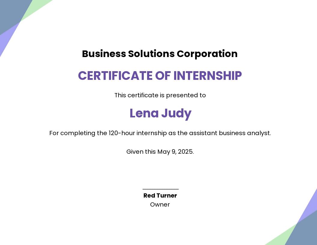 Internship Certificate Template