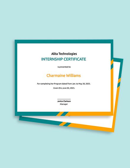 Student Internship Certificate Template