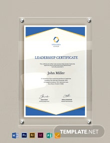 Leadership Certificate Template