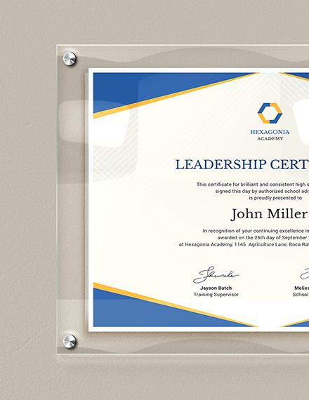 Sample Leadership Certificate
