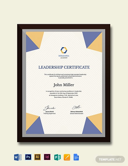 Student Leadership Certificate Template