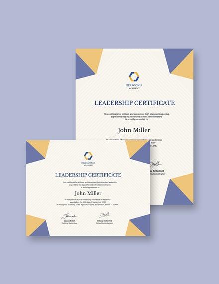 Student Leadership Certificate Template