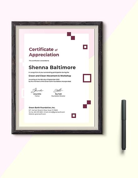 Modern Appreciation Certificate Download