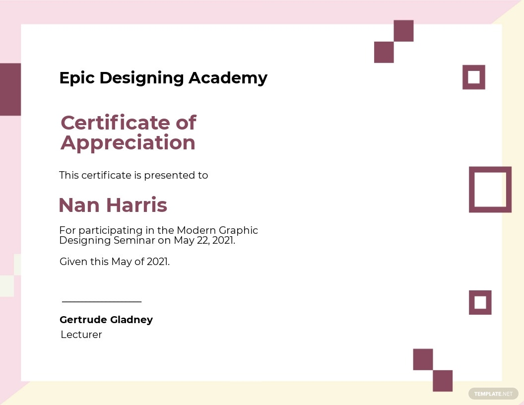 Modern Appreciation Certificate Template