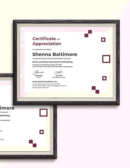 Sample Modern Appreciation Certificate
