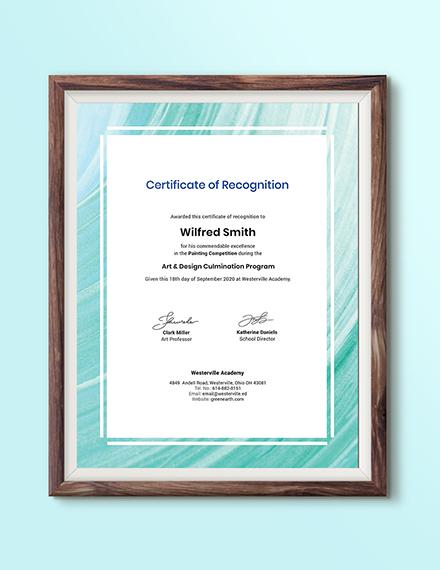 Creative Painting Award Certificate Download