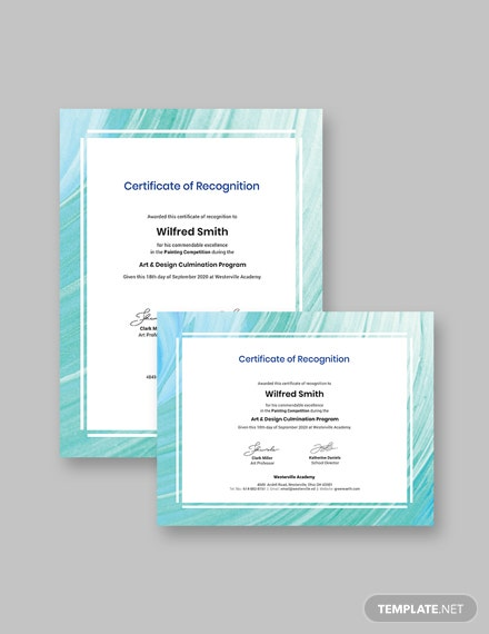 Creative Painting Award Certificate Template